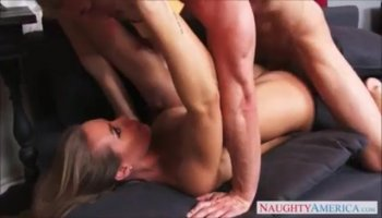 Horny stud drives into wet bawdy cleft doggy style